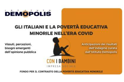"""Presentata l'indagine condotta da Demopolis per Con i Bambini """"Gli Italiani e la povertà educativa minorile nell'era Covid"""""""